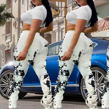 Lovely Casual Print White Plus Size Pants