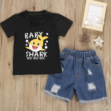 Lovely Leisure Cartoon Print Black Boy Two-piece Shorts Set