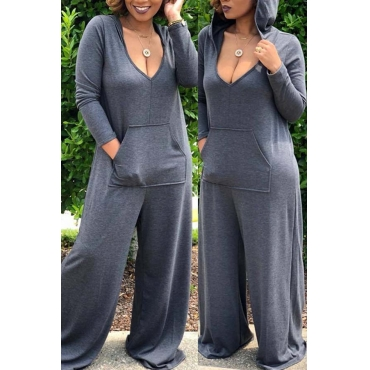 Lovely Leisure Deep V Neck Grey Plus Size One-piec