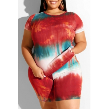 Lovely Trendy Tie-dye Red Plus Size Two-piece Shorts Set
