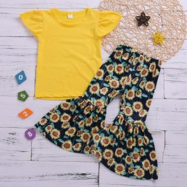 Lovely Sweet Print Yellow Girl Two-piece Pants Set