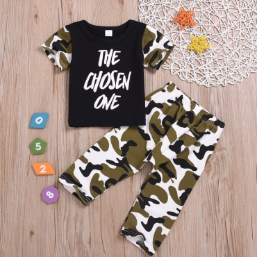 Lovely Casual Letter Print Black Boy Two-piece Pants Set