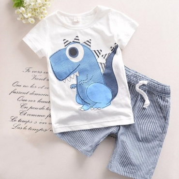 Lovely Leisure Cartoon Print White Boy Two-piece Shorts Set