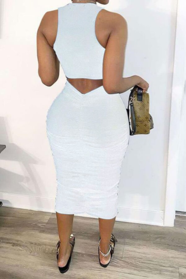 Lovely Leisure Hollow-out White Mid Calf Dress