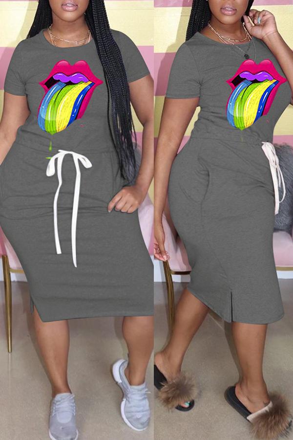 Plus Size Dress Lovely Casual Lip Print Dark Grey Knee Length Dress фото