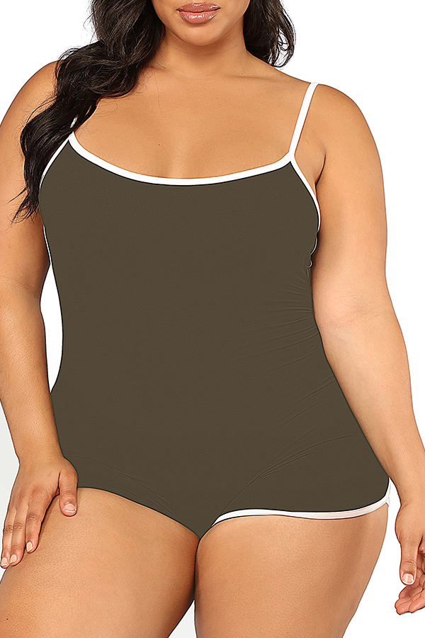 Lovely Leisure Patchwork Army Green Plus SizeOne-piece Romper