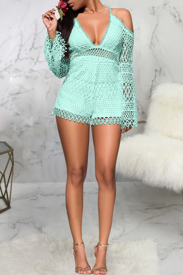 Lovely Trendy Deep V Neck Hollow-out Baby Blue One-piece Romper