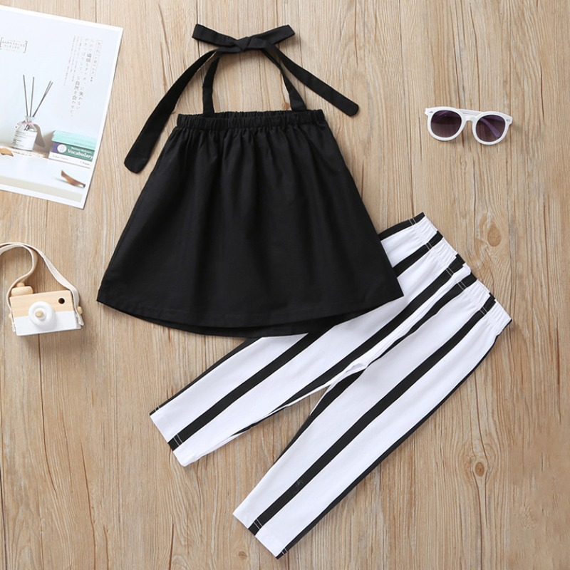 Girls Two-piece Pants Set Lovely Trendy Lace-up Black Girl Two-piece Pants Set фото