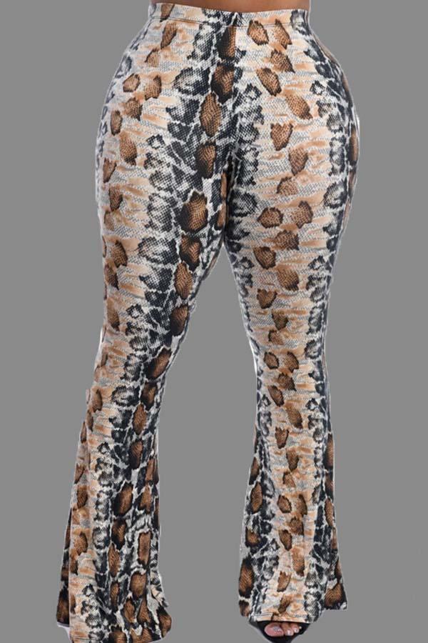 Lovely Casual Print Khaki Pants