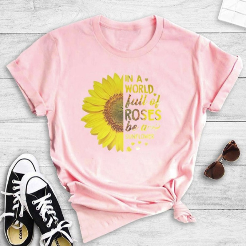 Lovely Casual O Neck Print Pink T-shirt
