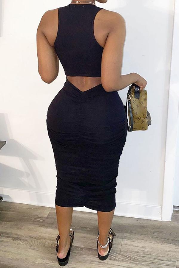 Lovely Leisure O Neck Letter Black Mid Calf Dress
