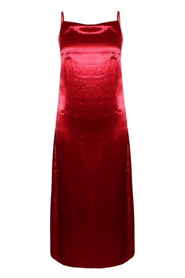 Lovely Trendy Side High SlitRed Ankle Length Dress