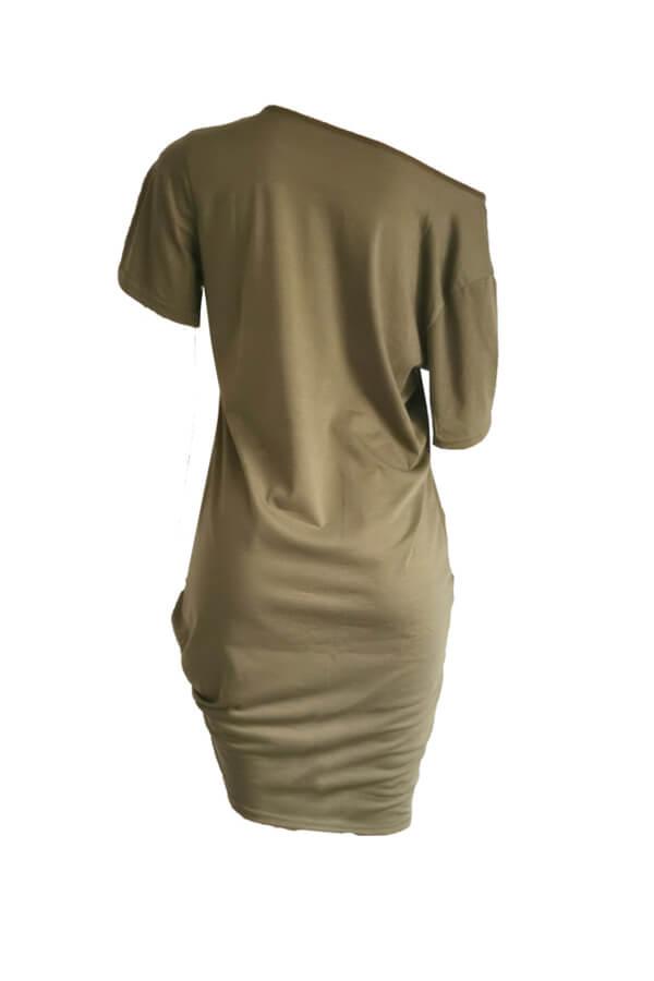 Lovely Casual O Neck Letter Print Green Knee Length Dress