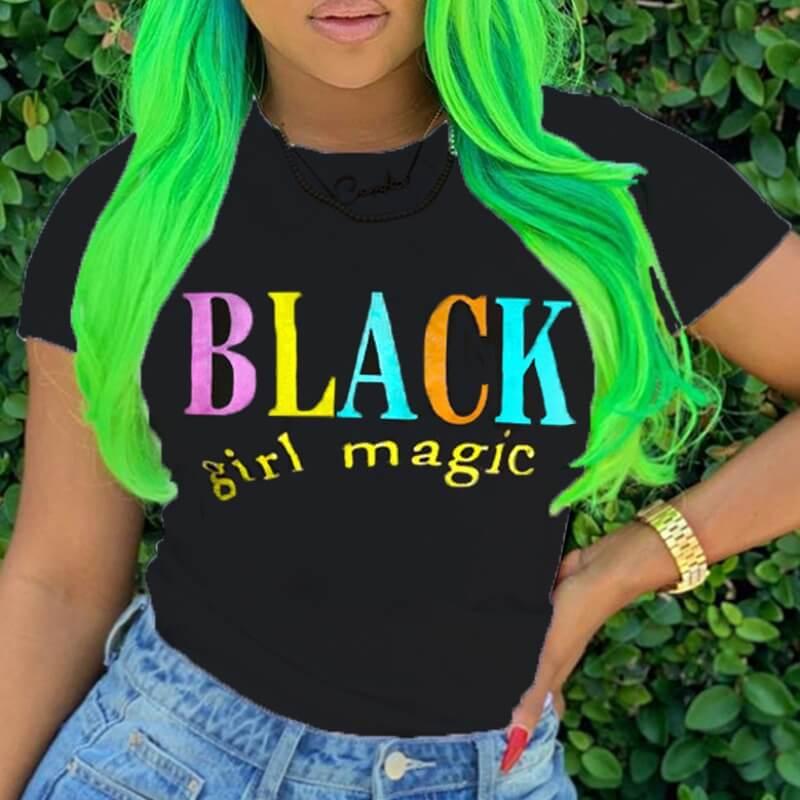 Lovelywholesale coupon: LW BASICS Casual O Neck Letter Multicolor T-shirt