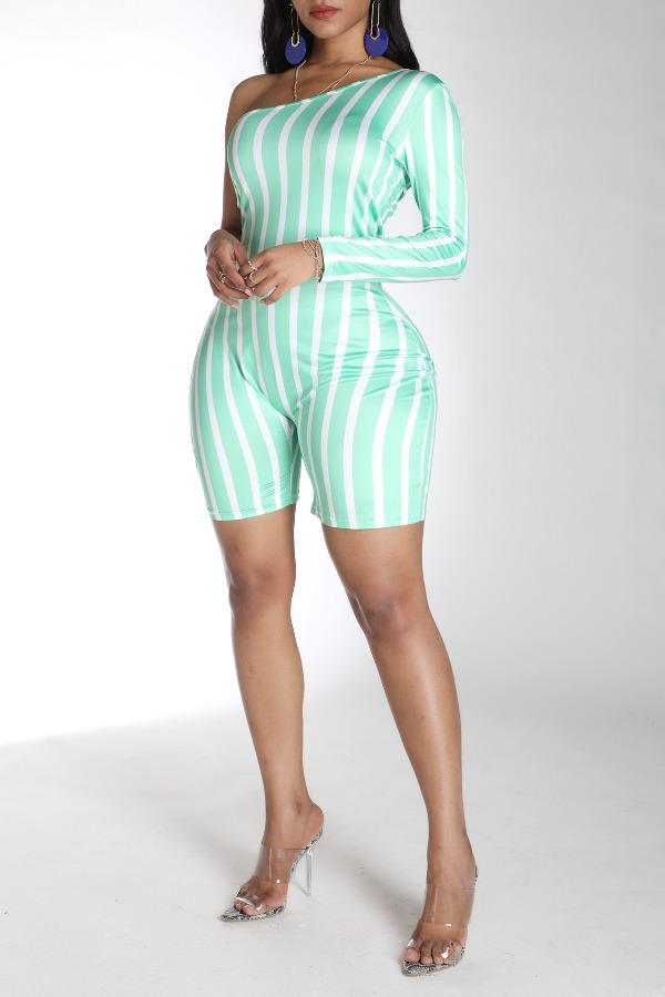 Lovely Trendy One Shoulder Striped Green One-piece Romper