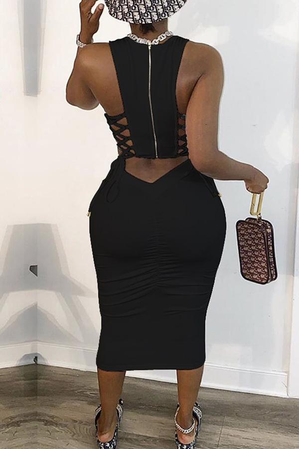 Lovely Trendy Bandage Design Black Mid Calf Plus Size Dress