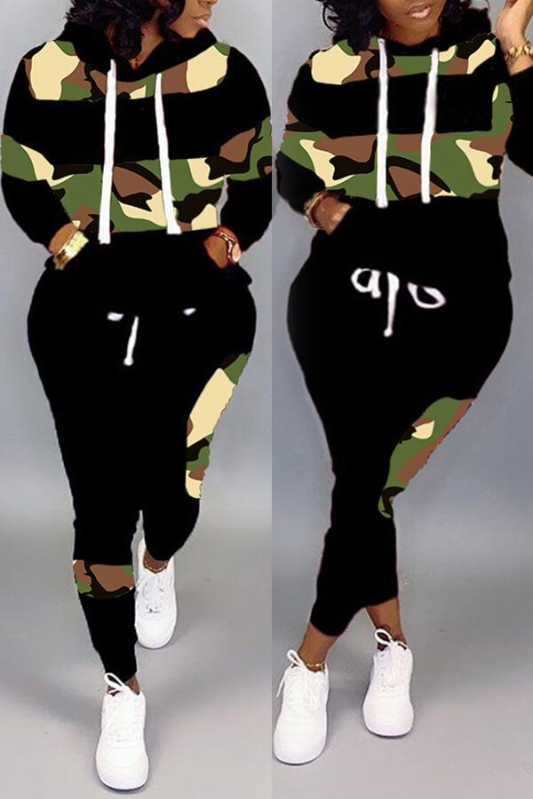Lovely Sportswear Camo Print Plus Size Two-piece Pants Set
