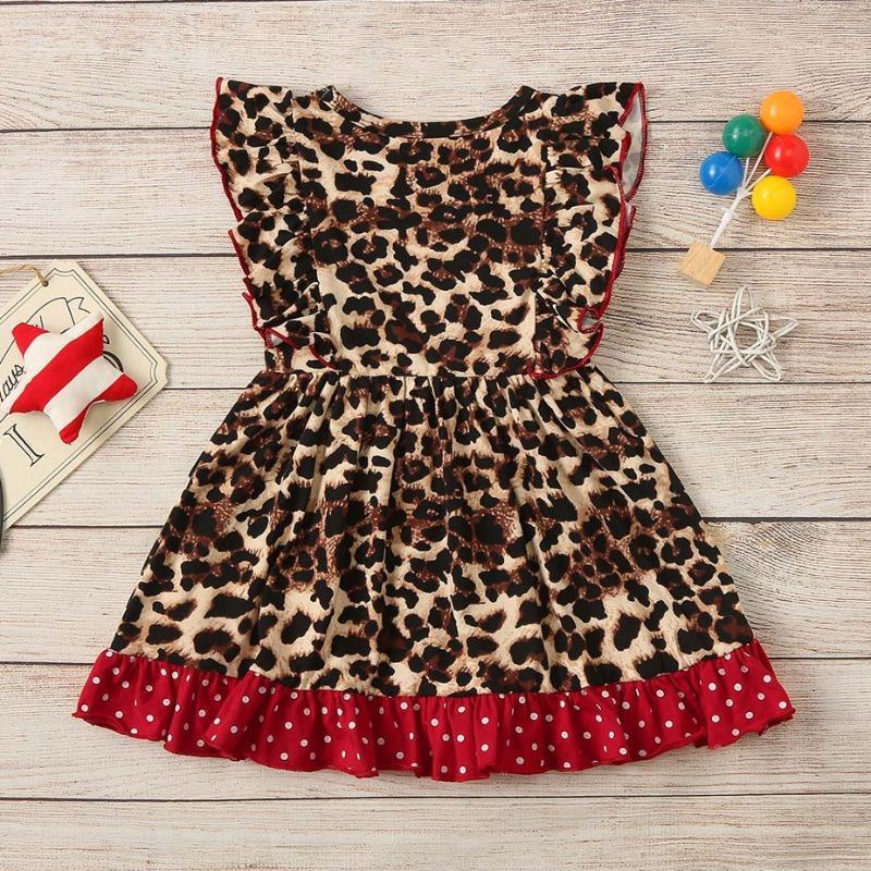Lovely Trendy Leopard Print Girl Knee Length Dress