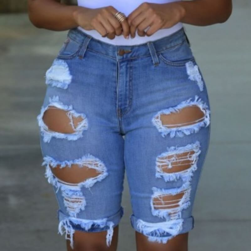 Lovely Casual Hollow-out Baby Blue Shorts