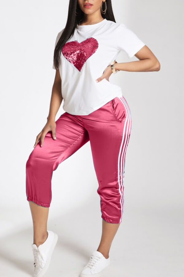 Lovely Leisure Patchwork Pink Two-piece Pants Set фото