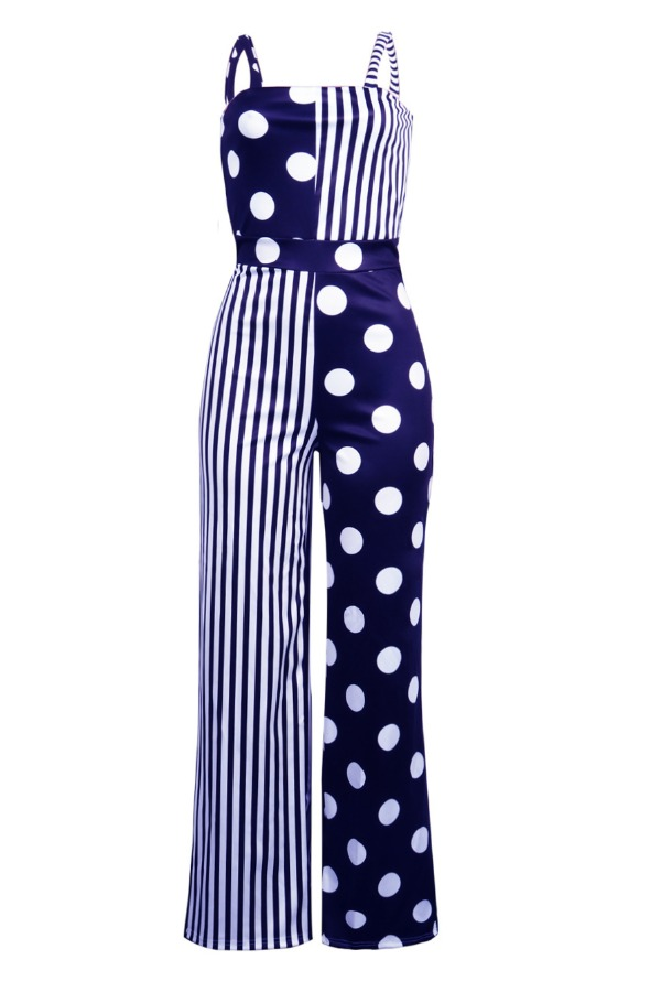 Lovely Stylish Print Patchwork Dark Blue One-piece Jumpsuit