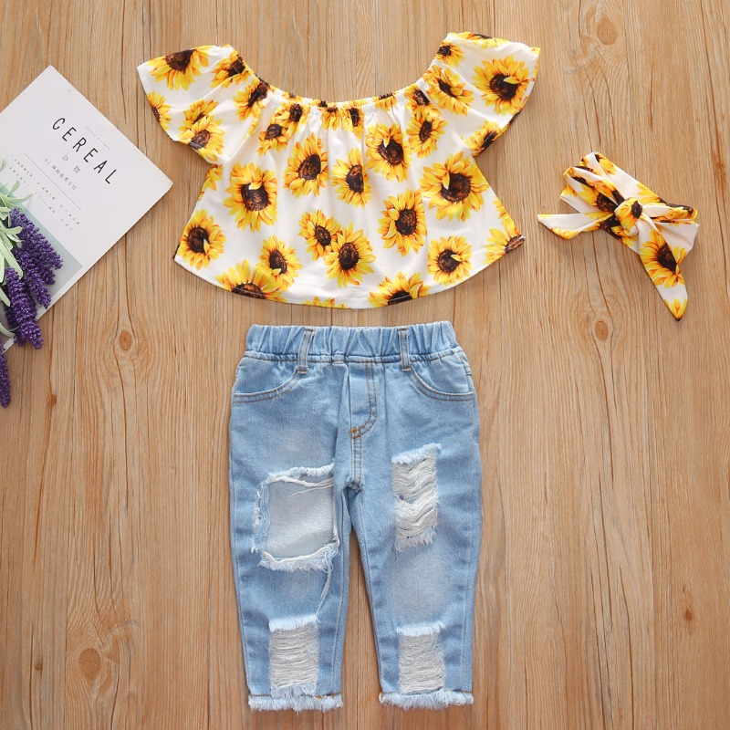 Girls Two-piece Pants Set lovely Trendy Sunflower Print White Girl Two-piece Pants Set фото