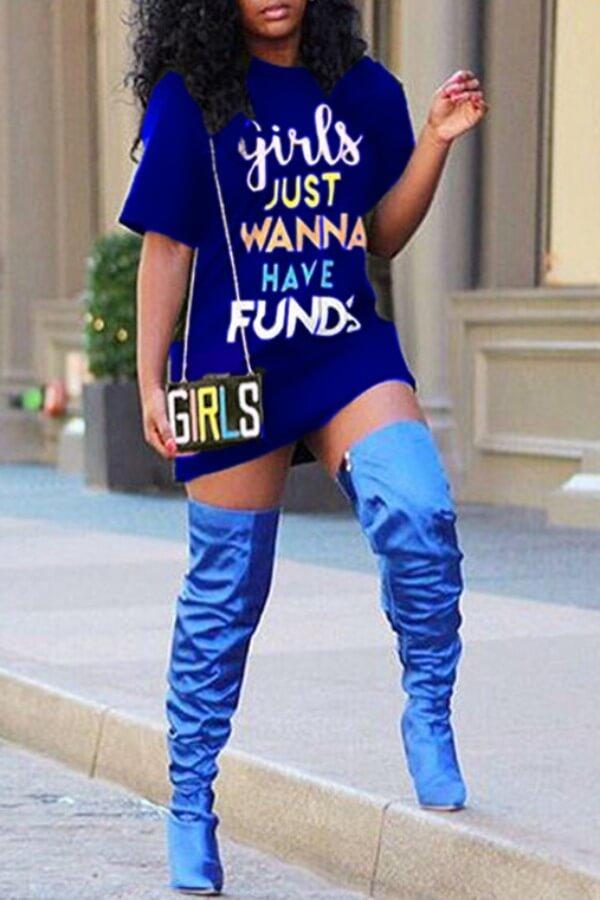 Lovely Casual Letter Print Blue Mini Dress