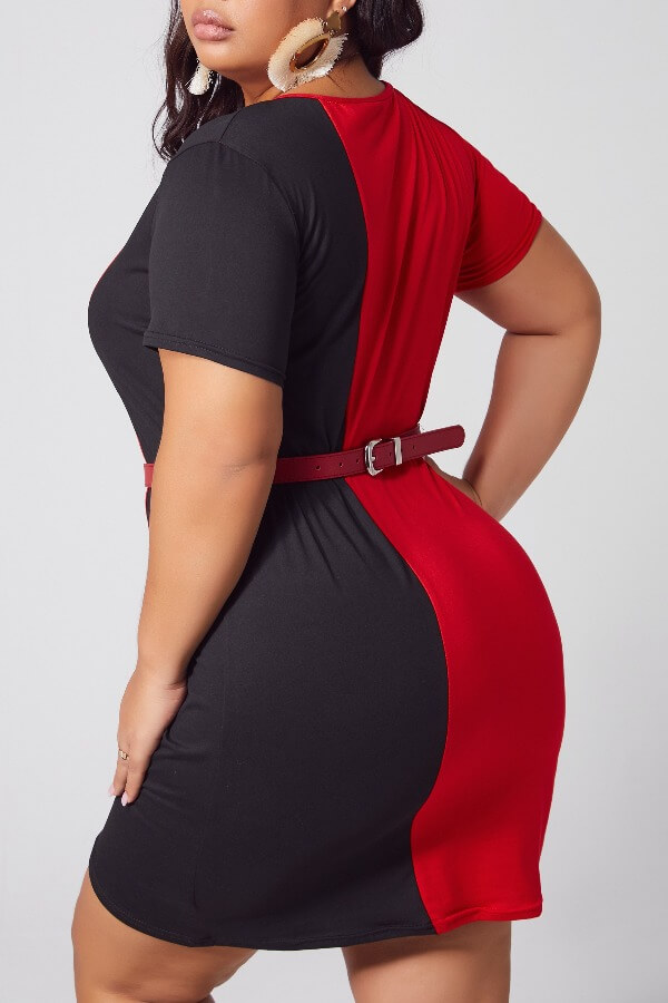 Lovely Casual Patchwork Red Mini Plus Size Dress