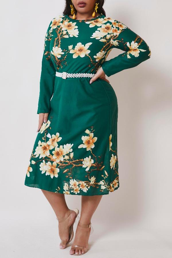 Lovely Bohemian O Neck Plants Print Green Mid Calf Plus Size Dress фото