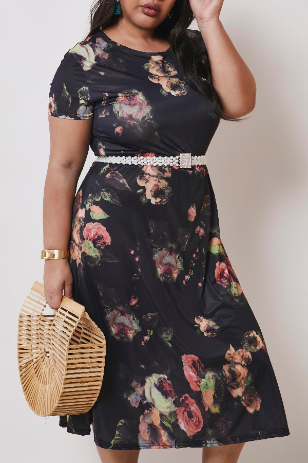 Lovely Casual Print Black Mid Calf Plus Size Dress фото