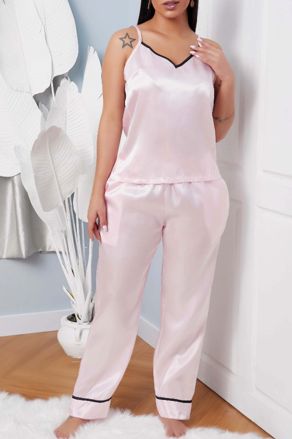 lovely Casual Basic Pink Sleepwear