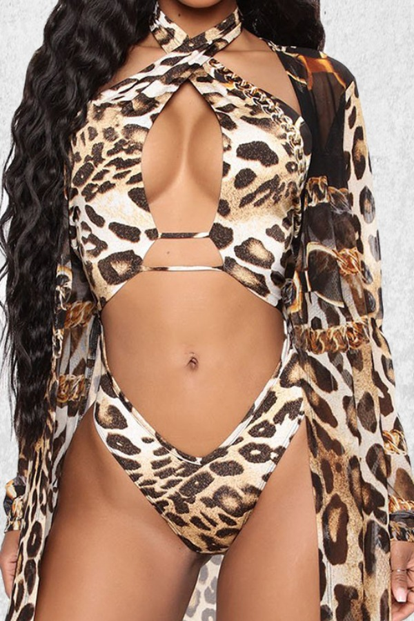 Lovely Cut-Out Leopard Pink One-piece Swimsuit