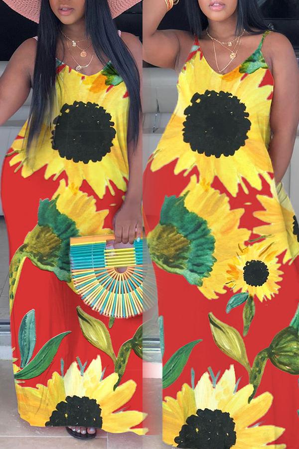 Lovely Bohemian V Neck Sunflower Print Red Maxi Plus Size Dress