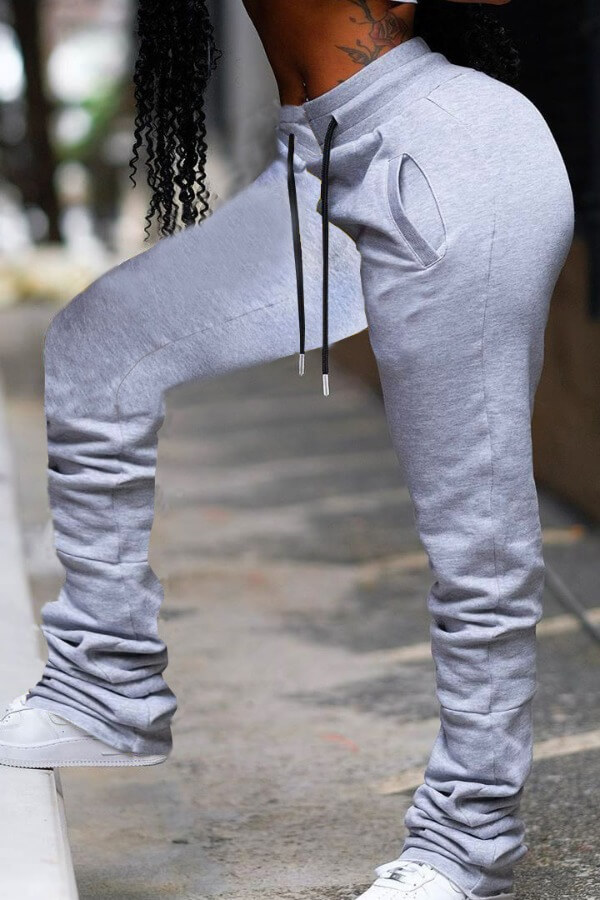 Lovely Street Lace-up Grey Pants фото