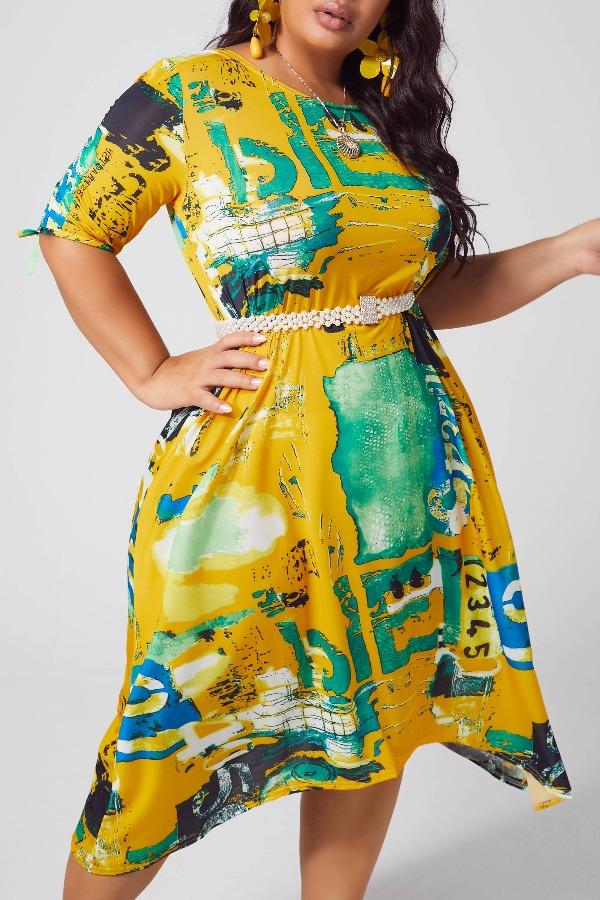 Lovely Bohemian Print Yellow Mid Calf Plus Size Dress фото