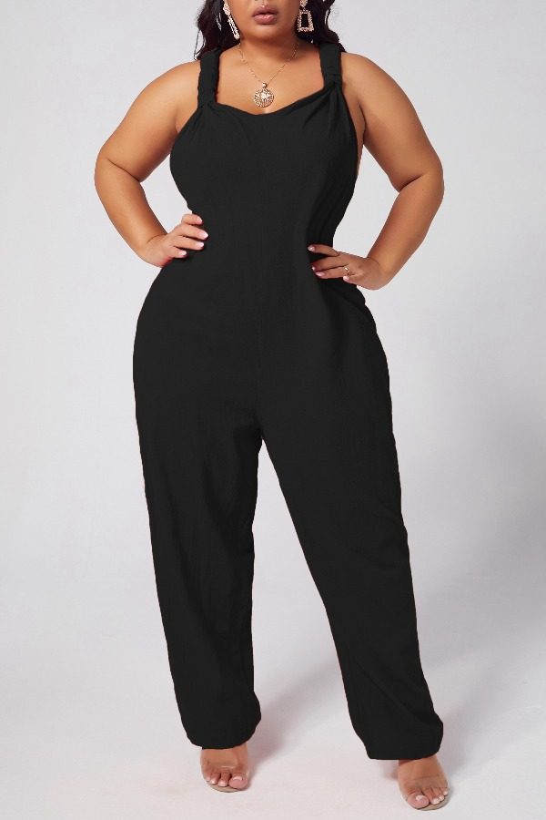 Lovely Leisure Loose Black One-piece Jumpsuit фото