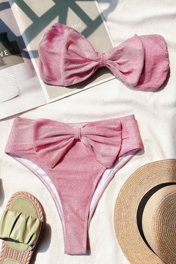 lovely Bow-Tie Pink Two-piece Swimsuit