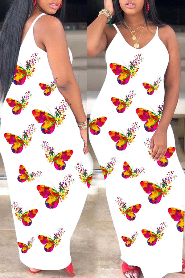 lovely Trendy Butterfly Print White Maxi Dress