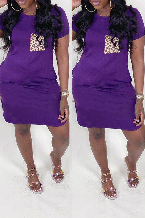 lovely Casual O Neck Pocket Patched Purple Knee Length Dress