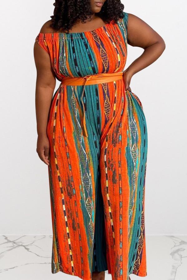 Plus Size Jumpsuit lovely Bohemian Print Multicolor Plus Size One-piece Jumpsuit фото