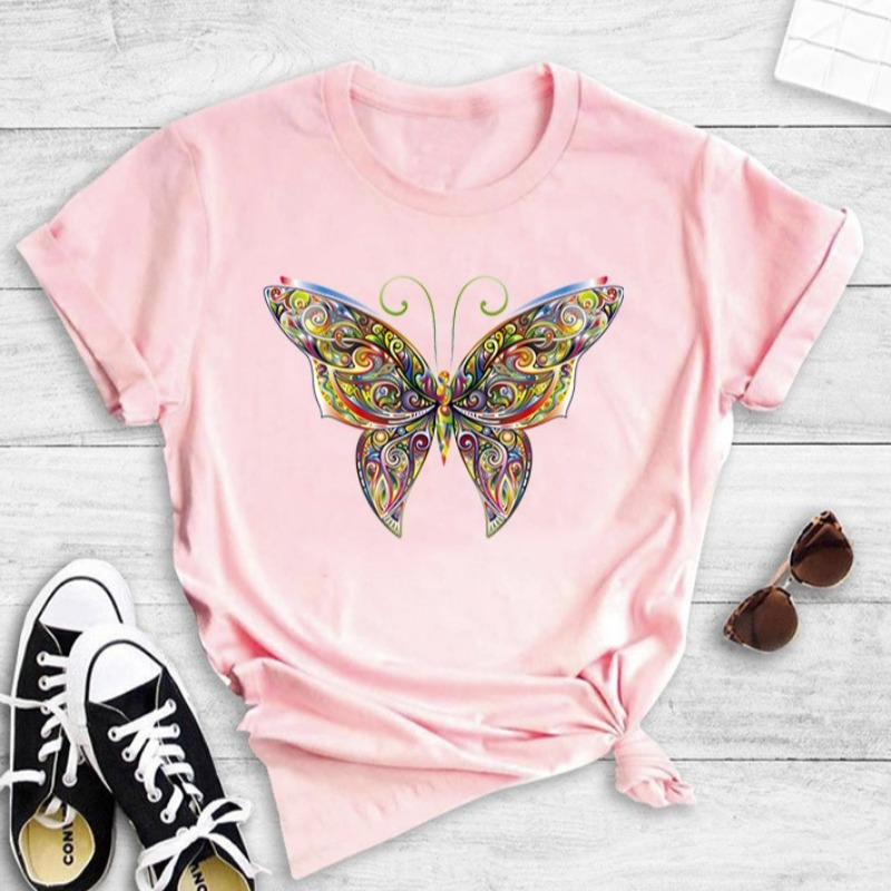 lovely Casual O Neck Butterfly Print Pink T-shirt