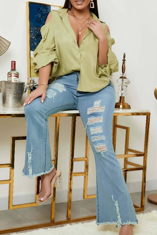 lovely Trendy Hollow-out Green Blouse