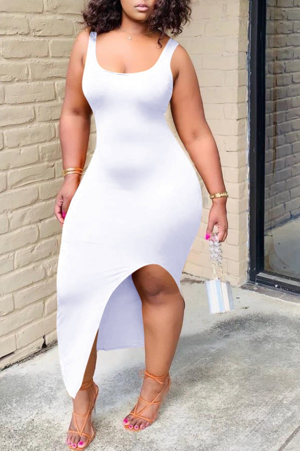 lovely Sexy Asymmetrical White Ankle Length Dress