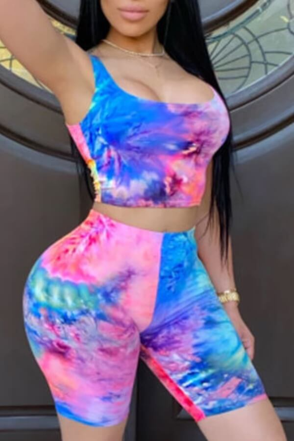 Two-piece Shorts Set Lovely Leisure Tie Dye Blue Two Piece Shorts Set фото