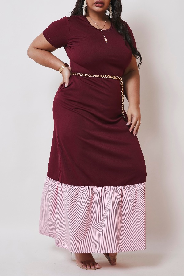 Lovely Casual Patchwork Wine Red Maxi Plus Size Dress фото