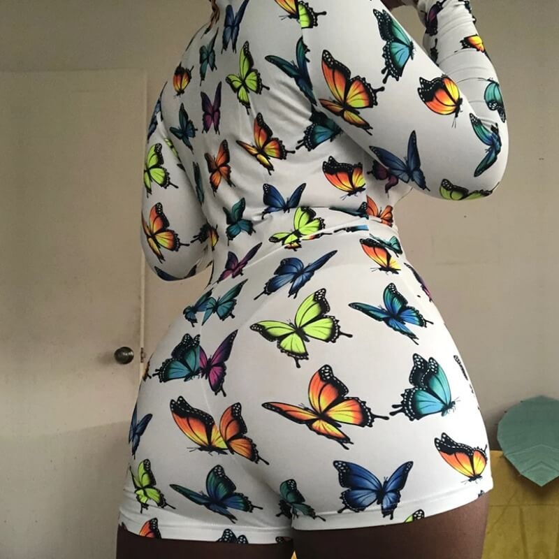 Lovely Trendy Butterfly Print White Plus Size One-