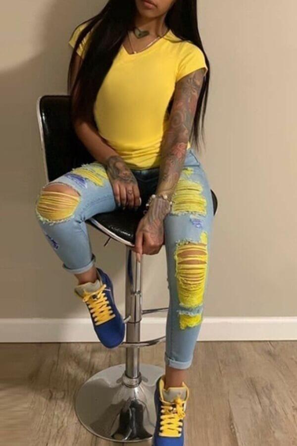 LW BASIC Plus Size Stylish Broken Holes Baby Blue Jeans