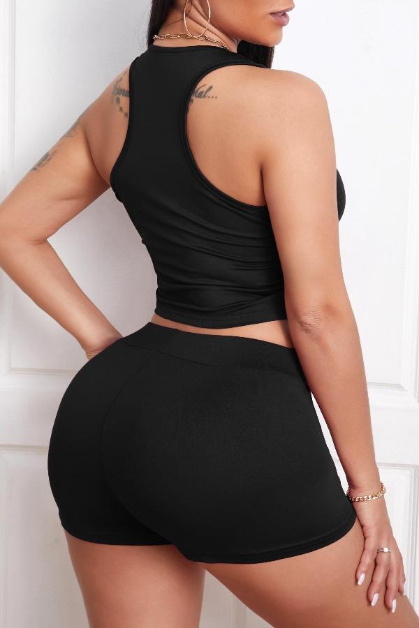 Lovely Leisure Lace-up Black Loungewear