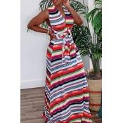 Lovely Stylish V Neck Striped Red Maxi Dress