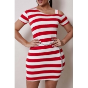 Lovely Casual Hollow-out Striped Red Mini Dress